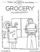Coloring Workers Grocery Heroes Delivery Truck Drivers Children Factory Checkers Farmers Thank Bible Healthcare Cleaning Everyday Ministry Nurses Managers Baggers sketch template