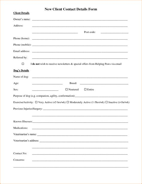 Client Information Form Template Free 10 client information sheet template