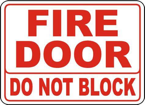 fire door   block sign   safetysigncom