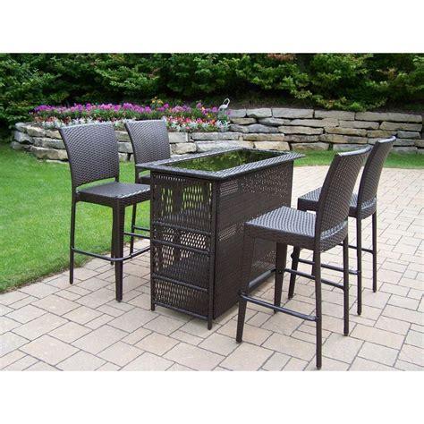 outdoor patio bar sets oakland living elite resin wicker 5 patio bar set