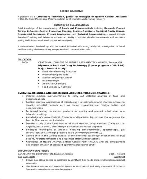 lab technician resume template   word