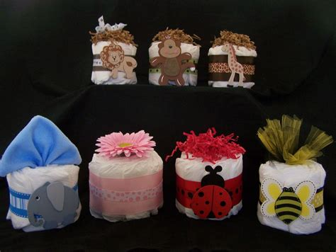 Mini Diaper Cakes Centerpieces Baby Shower Ideas Baby