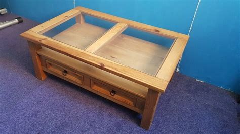 1 best mexican coffees in 2021. SOLID CHUNKY MEXICAN PINE COFFEE TABLE with GLASS TOP or TV UNIT   in Norwich, Norfolk   Gumtree