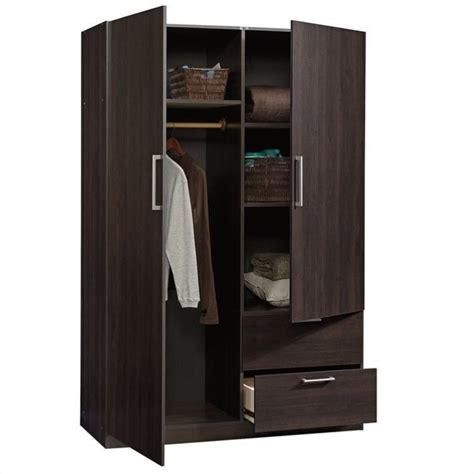 sauder beginnings wardrobe storage cabinet in cinnamon