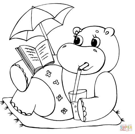 Dibujo de Hipopótamo con Sombrilla para colorear Dibujos