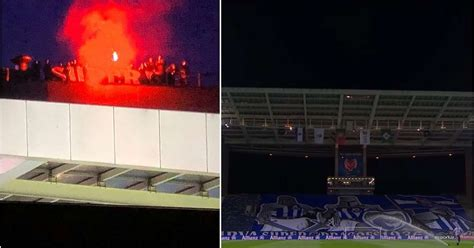 Porto fans spotted on roof of the Dragao stadium during ...