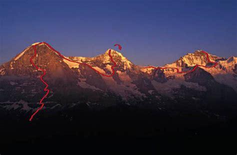 jungfrau und löwe eiger monch and jungfrau alpinist