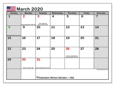 march  calendar usa michel zbinden en