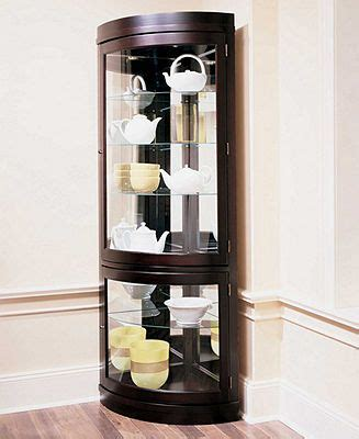 Macys Corner China Cabinet by Contemporary Curved Corner Curio Cabinet Accent