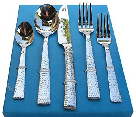 hammered flatware stainless silverware service steel cutlery pcs pc