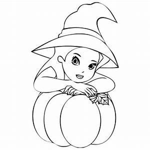 Citrouille D Halloween Dessin : coloriage d 39 halloween 6 la sorci re et sa citrouille ~ Nature-et-papiers.com Idées de Décoration