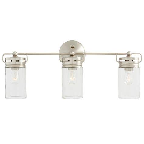 bathroom lighting fixtures shop allen roth vallymede 3 light 10 2 in brushed nickel
