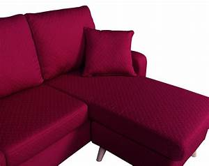 Modern fabric small space sectional sofa with reversible for Modern red fabric sectional sofa