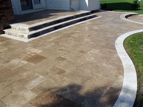 travertine patio and border all