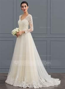 robe marquise col v balayage pinceau train tulle robe de With robe de mariée jjshouse