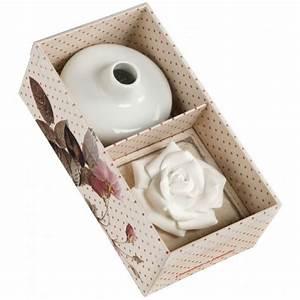 Diffuseur D Ambiance : coffret vase en c ramique avec fleur de platre diffuseur de parfum d 39 ambiance comptoir de ~ Teatrodelosmanantiales.com Idées de Décoration