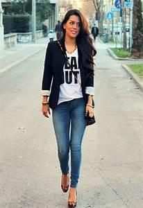 Black blazer outfit blue skinny jeans denim outfit   Fashion Favorites   Pinterest   Black ...
