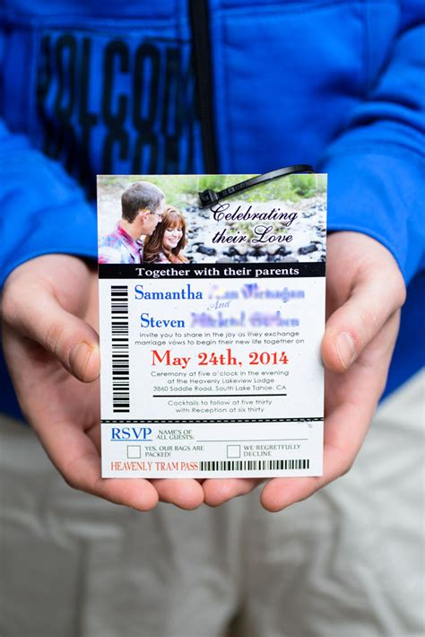 Ski Pass Lift Ticket Wedding Invitations To Lakeview