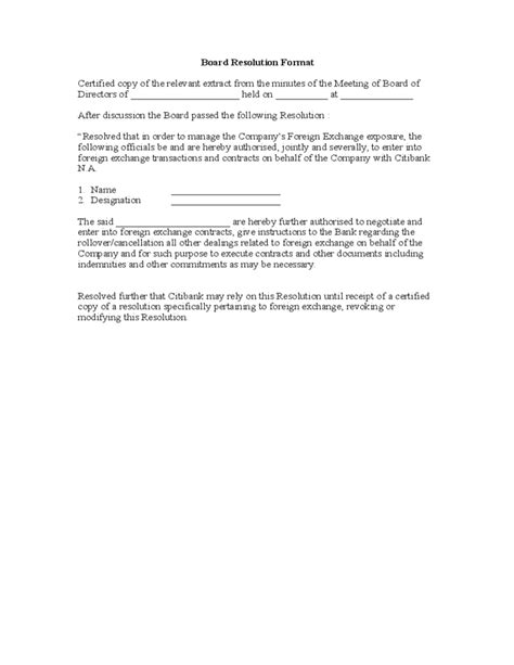 Letter Of Resolution Template by Board Resolution Format Free