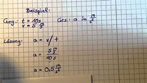 Sinkgeschwindigkeit Berechnen : beschleunigung ausrechnen physik leicht gemacht youtube ~ Themetempest.com Abrechnung