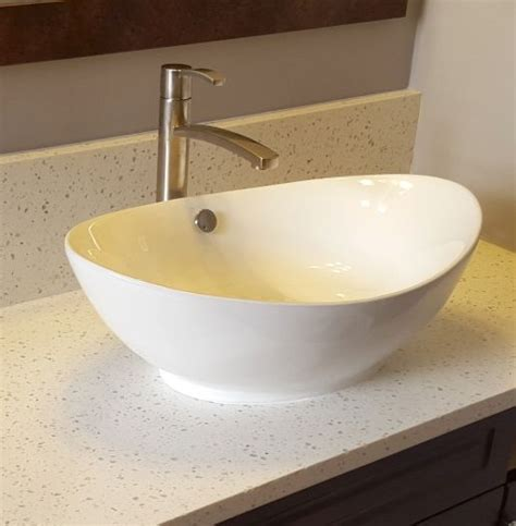 bv white scoop top oval vessel sink mounted  iced