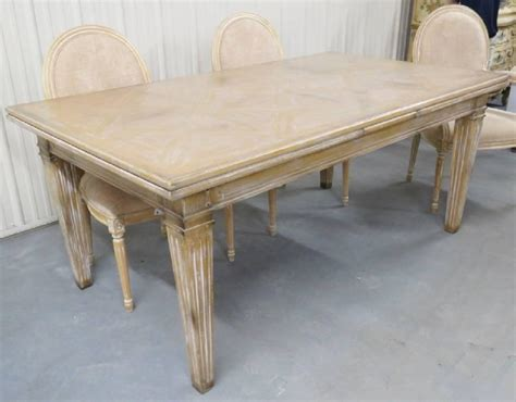 guido zichele distressed painted dining table and