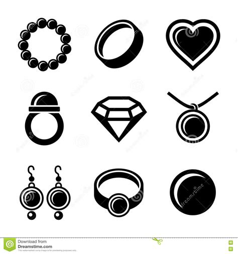 wedding clip on earring jewelry icons set royalty free stock images image 35200059