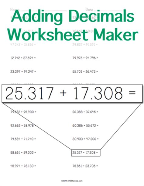 adding decimal worksheet adding decimals worksheet money