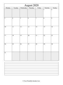august calendar horizontal layout