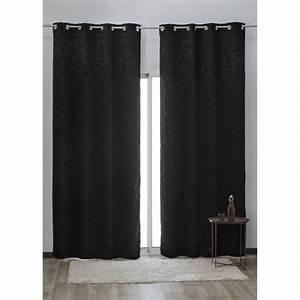 Rideau Occultant Gifi : rideau occultant illets design ligne noir rideau ~ Melissatoandfro.com Idées de Décoration