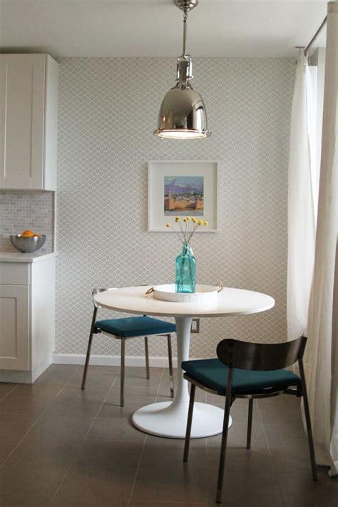 modern breakfast nook  gray  white wallpaper hgtv