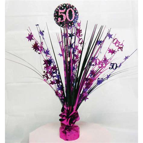 50th Birthday Spray Centrepiece Table Decoration Black