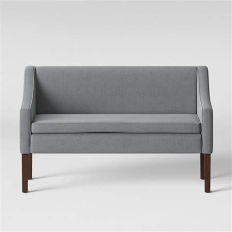 threshold settee bench nashua settee bench with back gray fabric