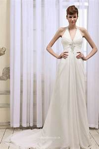 sexy halter neck floor length ruched chiffon backless With halter neck wedding dress