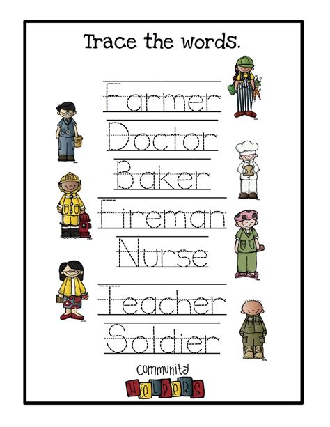 community helpers printable 2 preschool printables 246 | Trace the words 1