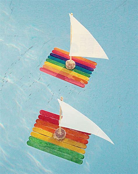 basteln sommer grundschule kunterbunte flosse aus eisstielen mit segel garten