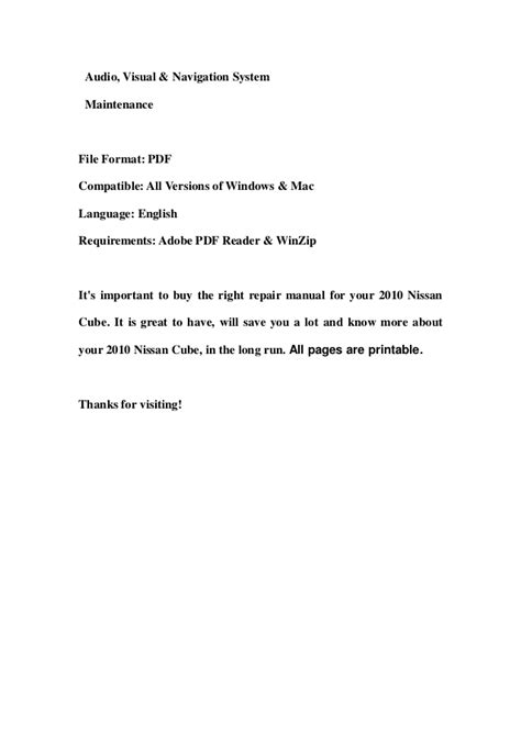 service and repair manuals 2010 nissan cube parking system 2010 nissan cube service repair workshop manual download