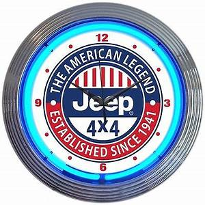 JEEP NEON Clock sign 4x4 The American Legend SInce 1941