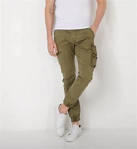 Replay Pantalon cargo ajusté Kaki Homme Mode Vêtements