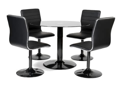 table ronde et chaises table 4 chaises alister noir