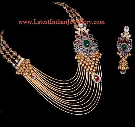 designer multi string gold jadau necklace