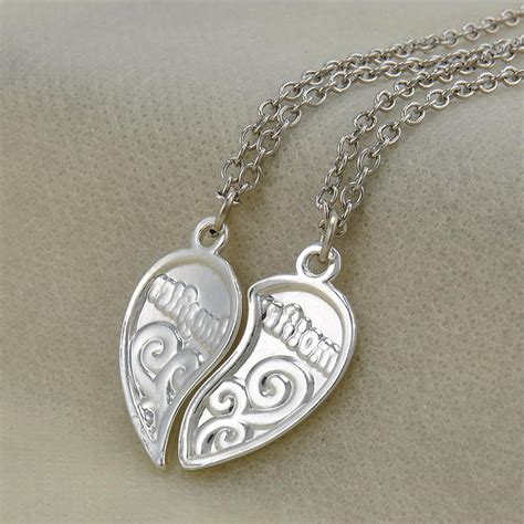 natalie mother daughter heart pendant necklace quan jewelry