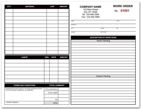 Painting Contractor Work Order Form