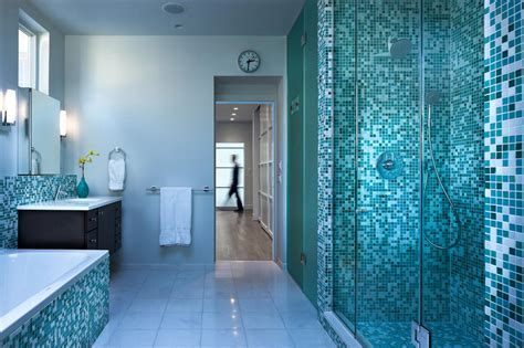Blue Bathroom With Stunning Blue Mosaic Tile Shower   HGTV