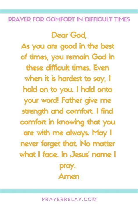 Lord, please comfort and surround her and her family with your peace and love. Powerful Prayer for Comfort with 38+ Bible Verses about Comfort - The Prayer Relay Movement