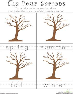 writing the four seasons worksheet education