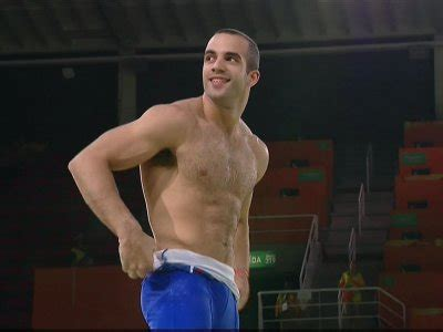 male gymnast  shirtless exhibition routine