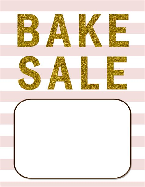 blush pink  gold glitter bake sale flyer bake sale