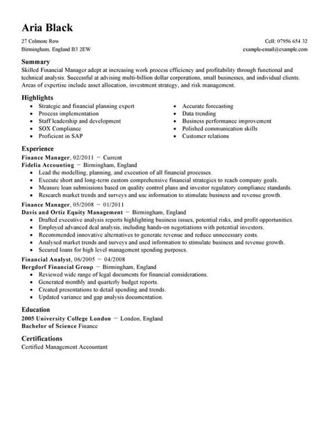 Finance Manager Resume by Best Finance Manager Resume Exle Livecareer