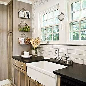 taupe kitchen cabinets cottage kitchen With best brand of paint for kitchen cabinets with nyc subway wall art